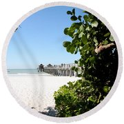 Naples Pier View Round Beach Towel by Christiane Schulze Art And Photography