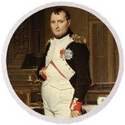 Napoleon Bonaparte In His Study Round Beach Towel