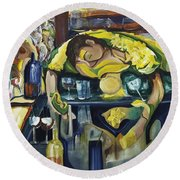 Narcisisstic Wine Bar Experience - After Caravaggio Round Beach Towel