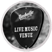 Nashville Music City Sign Round Beach Towel by Debbie Green