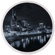 Nashville Skyline At Night Round Beach Towel by Dan Sproul