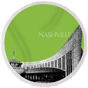 Nashville Skyline Country Music Hall Of Fame - Olive Round Beach Towel