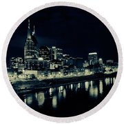 Nashville Skyline Reflected At Night Round Beach Towel by Dan Sproul