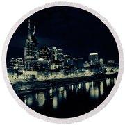 Nashville Skyline Reflected At Night Round Beach Towel