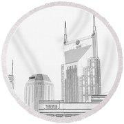 Nashville Skyline Sketch Batman Building Round Beach Towel by Dan Sproul