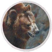 Nate - The Bear Round Beach Towel by Lori Brackett
