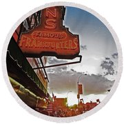 Round Beach Towel featuring the photograph Nathan's Famous Coney Island Sunset Frankfurters by Andy Prendy