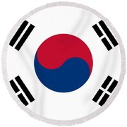 National Flag Of South Korea Authentic  Round Beach Towel