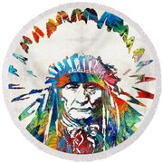 Native American Art - Chief - By Sharon Cummings Round Beach Towel