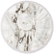 Round Beach Towel featuring the digital art Native American by Erika Weber