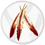 Native American Feathers  Round Beach Towel