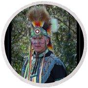 Native American Portrait Round Beach Towel