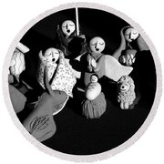 Round Beach Towel featuring the photograph Nativity Earthenware by Ron White