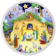 Nativity For Children Round Beach Towel