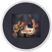 Round Beach Towel featuring the painting Nativity Scene Study by Donna Tucker