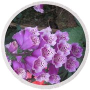 Natural Bouquet Bunch Of Spiritul Purple Flowers Round Beach Towel by Navin Joshi