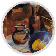 Round Beach Towel featuring the painting Still Life Sepia by Elise Palmigiani