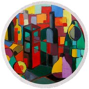 Nature Morte Cubiste Round Beach Towel