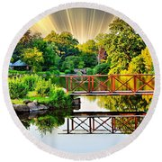 Round Beach Towel featuring the photograph Nature's Reflections by Judy Palkimas