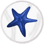 Nautical Blue Starfish Round Beach Towel