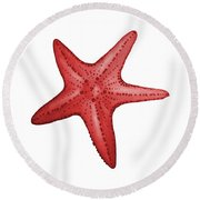 Nautical Red Starfish Round Beach Towel