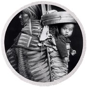 Navaho Woman Carrying A Papoose On Her Back Round Beach Towel
