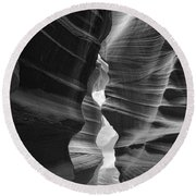Antelope Canyon Black And White Round Beach Towel