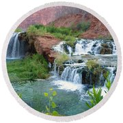 Round Beach Towel featuring the photograph Navajo Falls by Alan Socolik