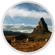 Navajo Horses At El Capitan Round Beach Towel
