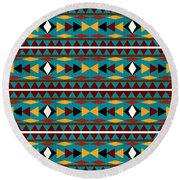 Navajo Teal Pattern Round Beach Towel
