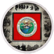Naval Special Warfare Command - N S W C - Emblem  Over Navy Seals Collage Round Beach Towel