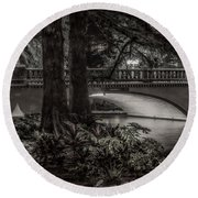 Round Beach Towel featuring the photograph Navarro Street Bridge At Night by Steven Sparks