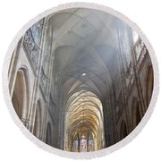 Nave Of The Cathedral Round Beach Towel by Michal Boubin