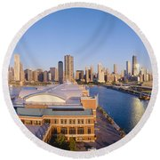 Navy Pier, Chicago, Morning, Illinois Round Beach Towel by Panoramic Images
