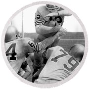 Navy Quarterback Staubach Round Beach Towel by Underwood Archives