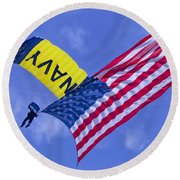 Round Beach Towel featuring the photograph Navy Seal Leap Frogs Us Flag by Donna Corless