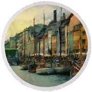 Round Beach Towel featuring the painting Nayhavn Street by Jeff Kolker