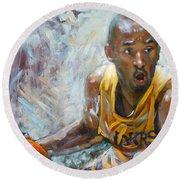 Nba Lakers Kobe Black Mamba Round Beach Towel by Ylli Haruni