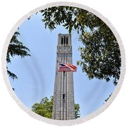 Nc State Memorial Bell Tower And Us Flag Round Beach Towel