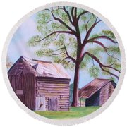 Nc Tobacco Barns Round Beach Towel