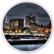 Round Beach Towel featuring the photograph Ncaa In Lights by Deborah Klubertanz
