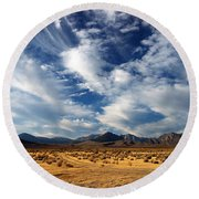 Near The Intersection Of God And The Eastern Sierras Round Beach Towel by Joe Schofield