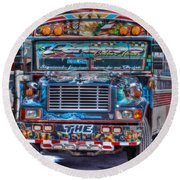 Neat Panamanian Graffiti Bus  Round Beach Towel