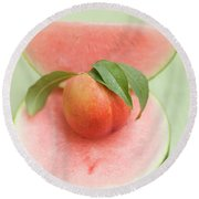 Nectarine With Leaves, Slice And Wedge Of Watermelon Round Beach Towel