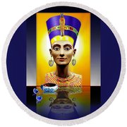 Nefertiti  The  Beautiful Round Beach Towel