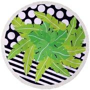 Negative Green Round Beach Towel by Thomas Gronowski
