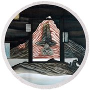 Round Beach Towel featuring the painting Negative Ion by Fei A