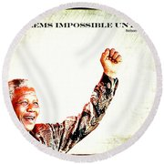 Nelson Mandela Round Beach Towel by Spikey Mouse Photography