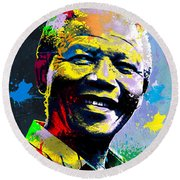 Nelson Mandela Madiba Round Beach Towel by Anthony Mwangi