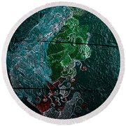 Round Beach Towel featuring the painting Nemesis by Gloria Ssali